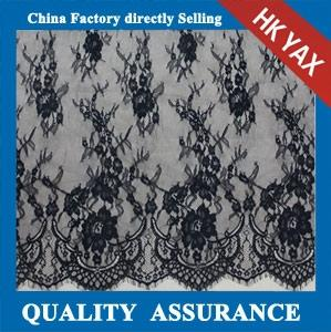 China Hot selling black scalloped voile lace fabric for ladies dress;voile lace fabric factory; voile lace fabric price on sale