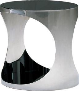 Quality Modern Round Sofa Side Tables, Italian Shiny Metal Glass Coffee Table for sale