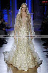 China Popular Exquisite A-line Golden Beaded Long Sleeve Saudi Arabia Zuhair Murad Evening/Wedding Dress Gold 2015 on sale
