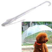 POE See Through Umbrella Clear Transparent Pet Dog Umbrella With Chain