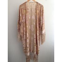 Comfortable Rose Pattern Burnout Velvet Ladies Long Kimono With Fringes