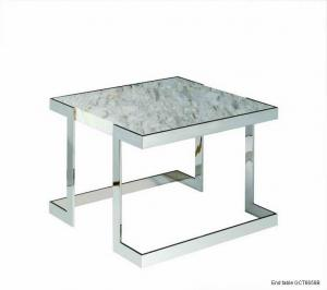 Quality Natural Marble Coffee Tables, Square White Marble Top End Table for sale