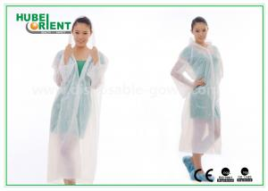 China Waterproof PE Disposable Protective Gowns , Transparent Disposable Poncho Raincoat on sale