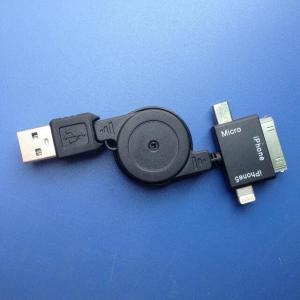 China 3 IN 1 Retractable USB Sync charger Cable For iPhone4 iPhone5 iPad 2 micro mini usb on sale