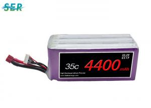China High Discharge LiPO Battery Pack , 6S1P RC Helicopter Battery 22.2V 4400mAh 35C on sale