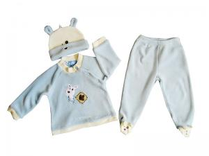China Custom Organic Cotton Thermal Warm Blue Baby Layette Set, Children Clothes With Hood on sale