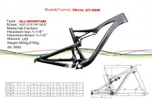 """Quality 27.5"""" ( 650b ) Carbon Single Speed Mountain Bike Frame of Internal Cable Routing for sale"""