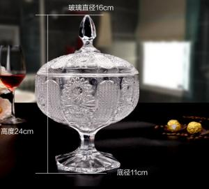 China Sunflower Wedding Glass Candy Jar Decorative Sugar Pot Machine Pressed on sale