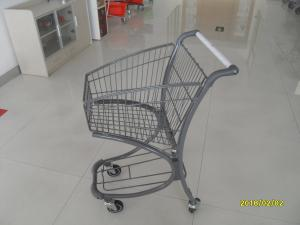 China 40L Steel Tube Airport Supermarket Shopping Trolley With Advertisement Board on sale