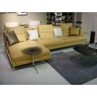 Modern Yellow Leather Living Room Sectional Sofas with Wood Feet
