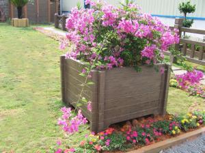 China Square wood plastic composite WPC flower pot cheap flower pots balcony flower pots on sale
