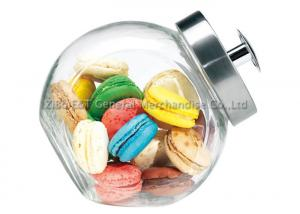 China 3L Medium Kitchen Glass Storage Jars with metal lid  /  large glass cookie jar on sale