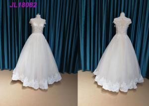 China Fashion Cap Sleeves Bridal Ball Gowns With Crystal Long Floor Length OEM Supply on sale