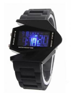 China Black and White Aircraft Shaped Multifunction Digital Watch , Waterproof LED Watch on sale