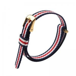 China Stripe Print 16mm Width Nylon Fabric Watch Strap ROHS approval on sale