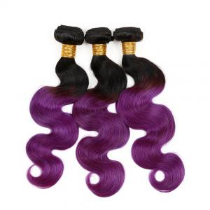 China 7A Ombre Purple Hair Weave / Two Tone Brazilian Body Wave Hair No Fiber on sale