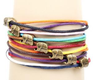 China Multi string cord layering charm cuff bracelets, multi color leather cuff on sale