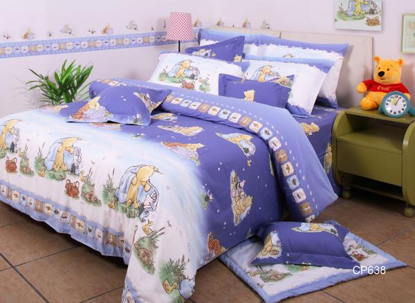 Purple Winnie Pooh Soft Bedding Sets Cotton Fabric Quilt Cover Bed Images