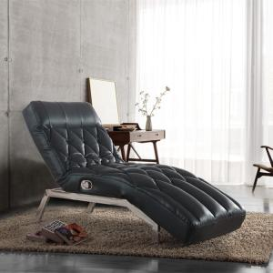 China Living Room Giovanni Black PU Leather Adjustable Chaise Lounge Sofa Bed on sale