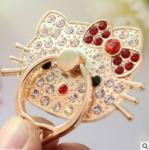Soporte multi del ángulo del tenedor del teléfono del anillo de finger del Hello Kitty con la historieta del cristal de la chispa