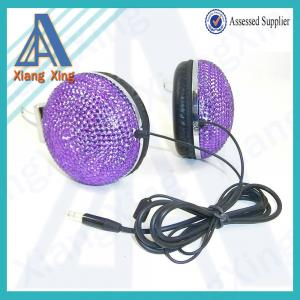 China Purple diamond bling bling crystal rhinestone headphones on sale