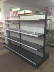 China Double Sided Metal Supermarket Shelf Store Retail Fixture Shop Display Rack on sale