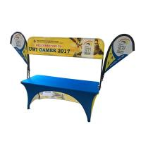 Tradeshow Advertising Spandex Elastic Polyester table cloths with teardrop flag