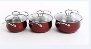 China Professional Red Pots And Pans Set , Non Stick Stainless Steel Cookware Set on sale