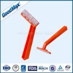 Plastic Single Blade Shaving Razor , Orange Color Single Blade Cartridge Razor
