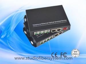China 4Port Telephone Fiber Optic Converter with 2ch 100M ethernet over singlemode fiber up to 20~120Km on sale