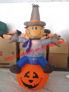China 120cm Halloween Inflatable Scarecrow on Pumpkin on sale