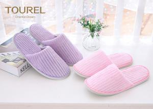 China Pink Or Purple Coral Fleece Disposable House Slippers Close Toe on sale