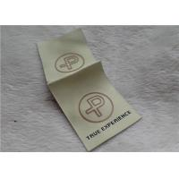China Logo Mid Fold Woven Clothing Labels Shinny Gold 0.4mm Thickness OEKO SGS BV on sale