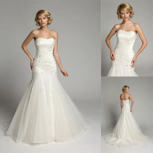 China Beaded Crystal Backless Sweetheart Wedding Gowns Long Train Bridal Gowns on sale