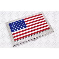 China American Flag Engraved Stainless Steel Business Card Holder For Men on sale