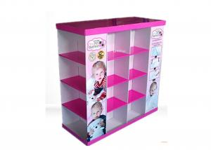 China Children Clothes 4 Tray Cardboard Pallet Display Stand With Glossy Varnishing Surface on sale