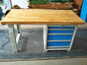 China Tool Workshop Stainless Steel Work Bench With Butcher Block Hardwood Bench Top on sale