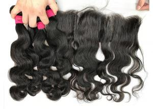 China Natural Peruvian Human Hair Weave / Body Wave Hair Bundles With Frontal on sale