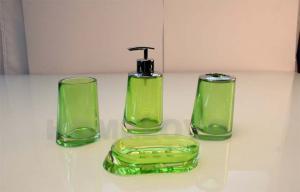 China Acrylic 4pcs Transparent Green Plastic Bathroom Sets Eco friendly Soap Dish on sale