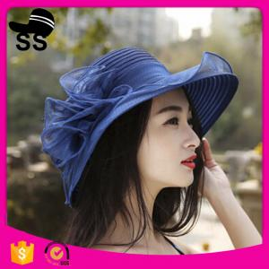 China 2017 natural grass d37cm promotional women beautiful for girls with flower summer straw hats on sale