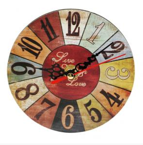 China Quartz Multi Color Cafe Wall Clock Non-Ticking Silent Retro Arabic Number Clock for Home Living Room Bedroom Kitchen on sale