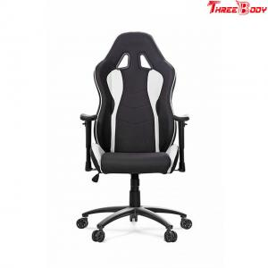 China Custom Black And White Leather Gaming Chair Height Adjustment Easy To Clean on sale