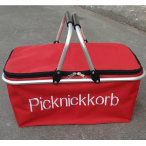 China Hand held Shopping folding Basket carrying Bag red double handle / logo pringting on sale