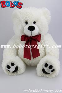 China White Stuffed Bear Animal Plush Teddy Bear Toy With Wine Red Ribbon As Nice Gift on sale