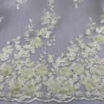 3D Floral Lace Fabric With Beaded Embroidered Polyester Fiber For Party Gowns