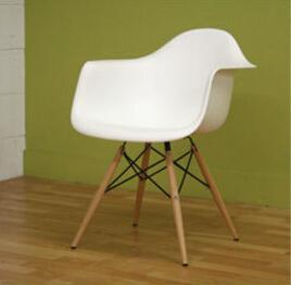 China Offer classical modern design eames armchair with wood eiffel leg daw plastic chair on sale