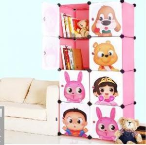 China 8 doors DIY PP pink cubes book cabinet book shelf for children on sale