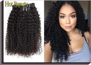 China Malaysian Human Hair Weave Grade 6A Virgin Hair Kinky Curly Natural Black Color 1b# on sale