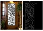 Rustic Elegance  Wrought Iron Door Glass Agon Filled With Silk Screening 22*64 Inch