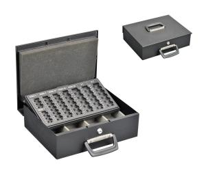 China OEM Service Metal Cash Box Euro Coin Collection With Removable Coin Tray on sale